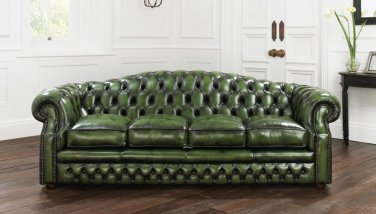 RESTORATION HARDWARE BUCKINGHAM CHESTERFIELD ANTIQUE GREEN SOFA ,96''W.
