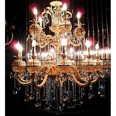 MAGNIFICENT GOLD SPHERE CRYSTAL CHANDELIER, 31.5''''DIAMETER X 40''H.