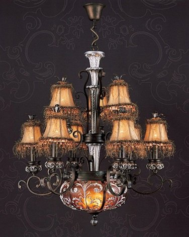 STUNNING VINTAGE STYLE AMBER HUES CHANDELIER,31''DIAM X 38''H