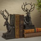 FABULOUS BRONZE PATINA CAST IRON STAG PAIR BOOKENDS,10''TALL.