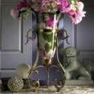 GLAMOROUS VINTAGE STYLE ANTIQUE BRASS CURLED LEG GLASS FLOATING VASE,22.5''TALL.