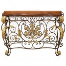 STUNNING IRON/WOOD GILT LEAF VINTAGE STYLE CONSOLE TABLE,61.5'' X 20'' X 37''H.