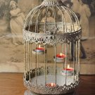 ADORABLE PROVENCAL TEALIGHT BIRD CAGE ,ORNATE METAL,15''H,HOLDS 5 TEALIGHTS.
