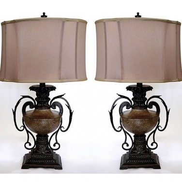 GORGEOUS SET OF TWO ANDIRON TABLE LAMPS