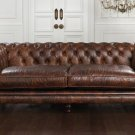 RESTORATION HARDWARE HAMPTON CHESTERFIELD VINTAGE DELUXE BROWN SOFA,74'WIDE!