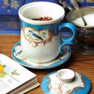 ADORABLE CHIC SHABBY BLUE BIRD MOTIF PORCELAIN TEA CUP/MUG SET FOR ONE,8''H.