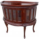 GORGEOUS CHOCOLATE VITRINE STYLE HALF ROUND WOOD&GLASS TABLE,34''LONG X 30.5''H.