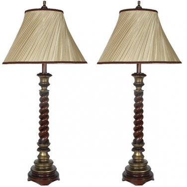 STUNNING  VINTAGE STYLE SET OF 2 BALTMORE BUFFET PILLAR TABLE LAMPS, 39''TALL.