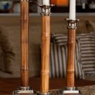 BEAUTIFUL SET OF 3 BAMBOO  ACCENT C.ALUMINUM CANDLE HOLDERS,12'',14'' AND 16''H.