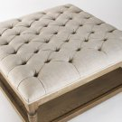 GORGEOUS CHIC SHABBY FRENCH LINEN TUFTED SQUARED OTTOMAN,36'' X 17''TALL.