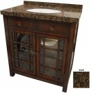 ELEGANT BROWN STONE TOP GLASS FRONT DOORS,SINK VANITY ,32'' X 25'' X 35''H,CHIC!