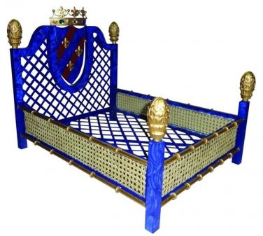 AMAZING OLD WORLD STYLE FAUX LAPIS RATTAN IRON/TOLE PET BED,SUPER CHIC!