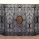 BEAUTIFUL IRON/TOLE,3 PANEL MARBLE INSET MONOGRAM OR MEDALLION FIRESCREEN,55''L!