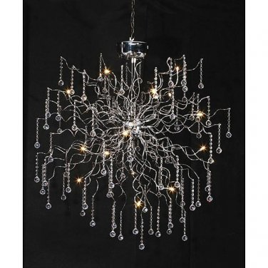 AWESOME CHIC MODERN AURA CHROME/CRYSTALS CHANDELIER, 39''DIAMETER