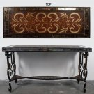 BEAUTIFUL H.PAINTED TOP&MOSAIC IRON CONSOLE TABLE