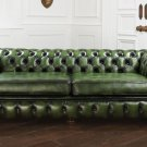 RESTORATION HARDWARE HAREWOOD HOUSE/CHESTERFIELD LEATHER SOFA ,91''WIDE!