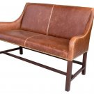 AWESOME MANCHESTER  ANTIQUED SADDLE LEATHER SETTEE/BENCH,46''W.
