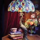 STUNNING PEACOCK MOTIF TIFFANY STYLE TABLE LAMP,28''TALL..