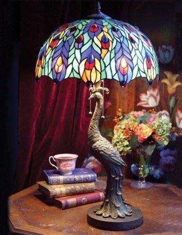 STUNNING PEACOCK MOTIF TIFFANY STYLE TABLE LAMP,28''TALL..