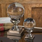FABULOUS SET OF TWO CRYSTAL BALL WITH NICKEL PEDESTAL 7'' AND 11''TALL.
