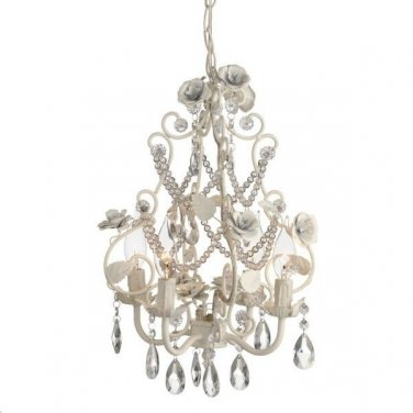 GORGEOUS CHIC SHABBY WHITE ROSES METAL CHANDELIER 12'' X 12'' X 16.5''TALL.