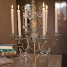 FABULOUS ANTIQUE IRON FINISH W/BEADED ACCENTS CANDLE CANDELABRA,18'' X 28.5''H.