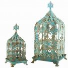 AWESOME CHIC SHABBY AQUA OR BLACK BIRD CAGES/GAZEBO/PLANTER,SET OF 2! 23''TALL.