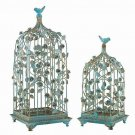 AWESOME CHIC SHABBY AQUA BIRD CAGES/GAZEBO/PLANTER,SET OF 2! 25.5''TALL.