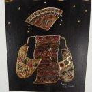 Folk Art Painting Signed Indonesian Dancer Bali Masks Ritual 10 x 12