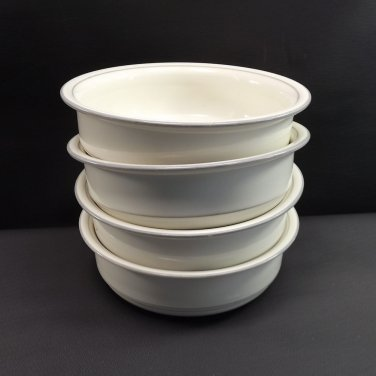 4 Lenox China For The Gray Cereal Soup Bowls Grey Trim with Verge 1985-1997