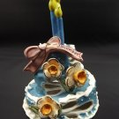 Blue Sky Clayworks December Ceramic Birthday Cake Tea Light Narcissus