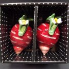 Blue Sky Clayworks New Salt Pepper Shaker Set Red Beet Turnip Heather Goldminc