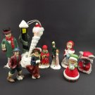 Vintage Christmas Ornaments Figurines Lot 12 Hand Painted Ceramic Mixed