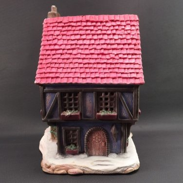 1986 Pat Betts Vintage Christmas Village Gift Shop Ceramic Red Roof 2 Story