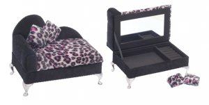 LP407 - Leopard Print Chaise Jewelry Box - BACKORDERED