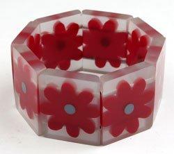 Lucite Bracelet w Red Flowers