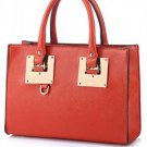 Red Faux Leather Top Handle Tote Handbag