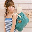 Green Button Designer Ruffle Handbag