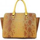 Faux Leather Croco Top Handle Tote Handbag