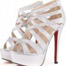 Silver Faux Leather Glitter Strappy Gladiator Platform Heels(US6)