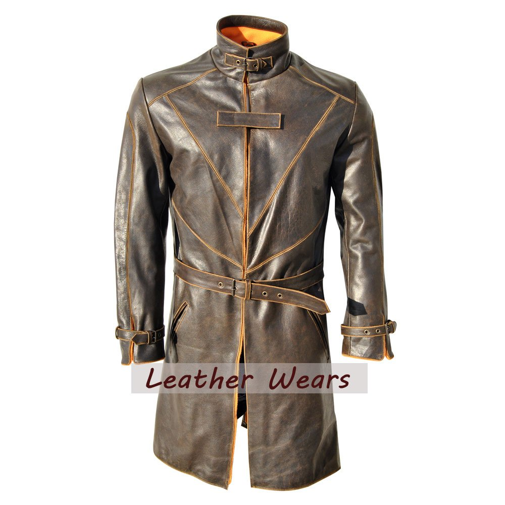 Watch Dogs Trench Coat Genuine Leather Jacket Distressed 100% Real Leather coat