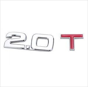 2.0 T Metal Chrome 3D Car Badge / Adhesive Badge Sticker Decor