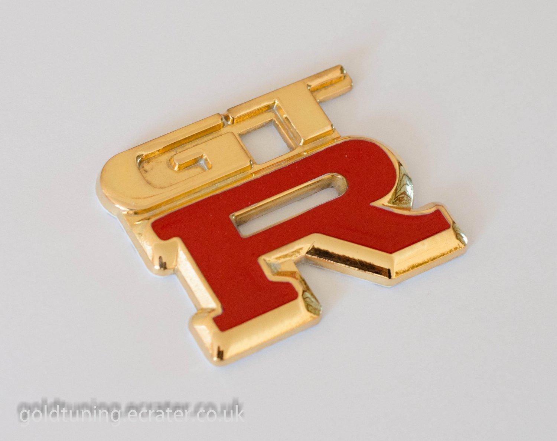 GTR 24K Gold Plated Metal 3D Car Badge / Red