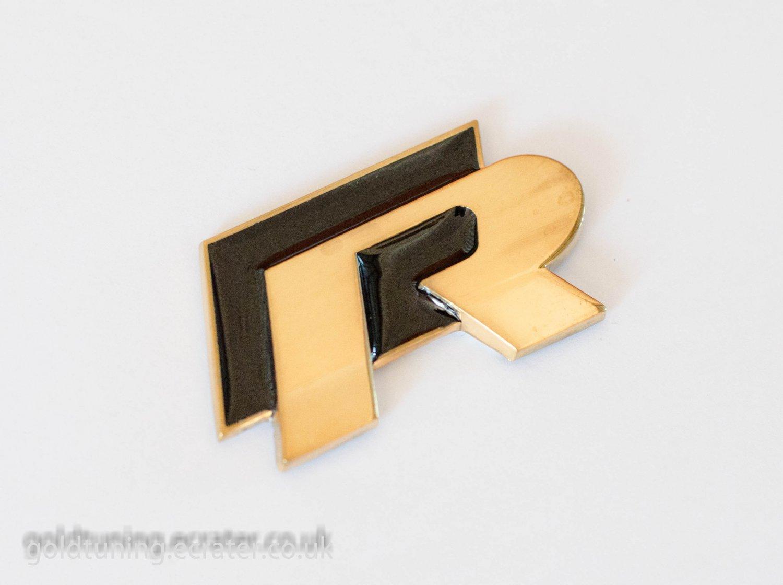 VW R 24K Gold Plated 3D Badge Emblem Sticker Black