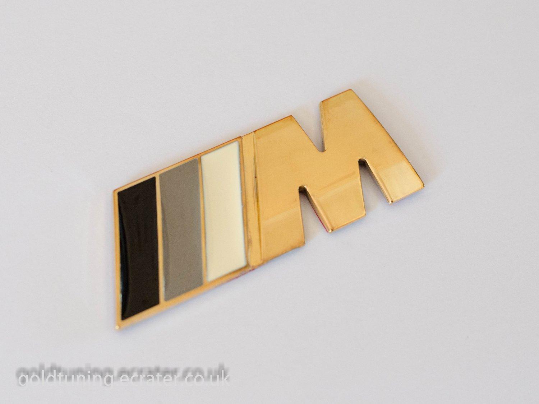 BMW ///M-tech Gray 24K Gold Plated 3D Rear Badge / Emblem Sticker