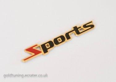 Sports 24K Gold Plated 3D Metal Car Badge / Adhesive Badge Sticker Decor