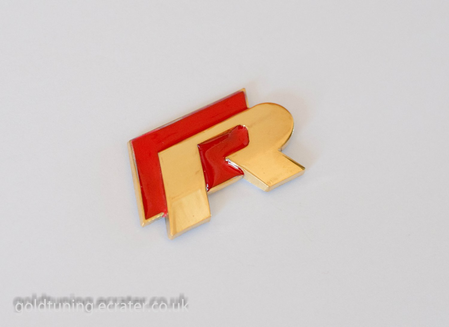 VW R 24K Gold Plated 3D Badge Emblem Sticker Red