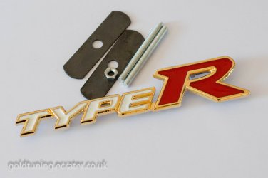 HONDA TYPE R 24K Gold Plated 3D Grill Badge Emblem WHITE / RED