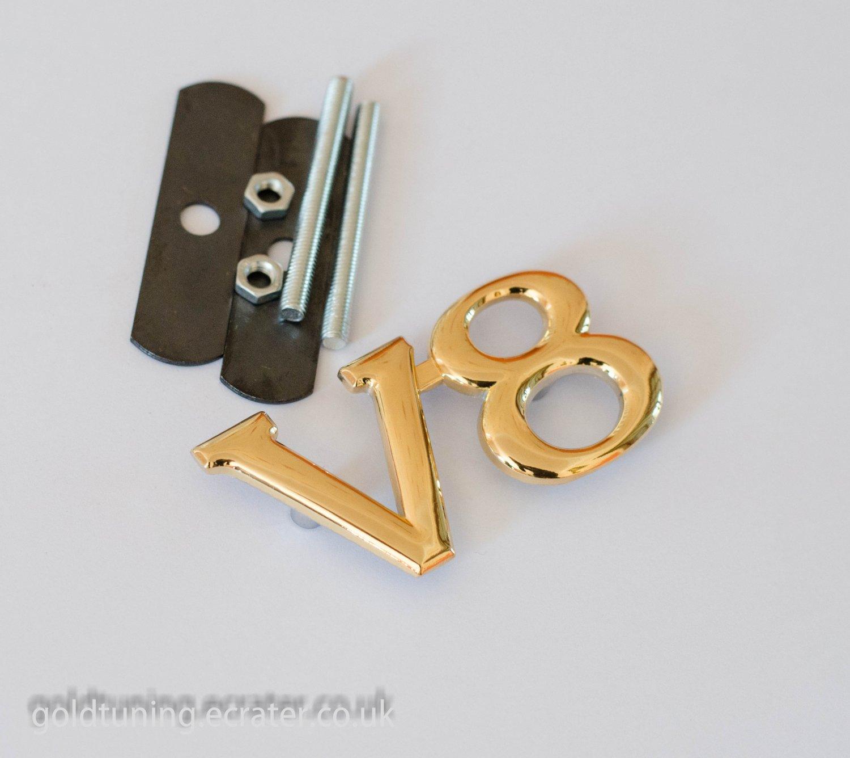 V8 24K Gold Plated 3D Car Front Logo Grill Badge / Emblem