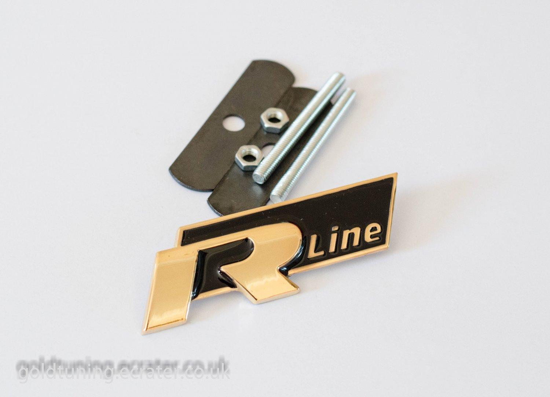 VW Audi R Line 24K Gold Plated 3D Grill Badge Emblem Black
